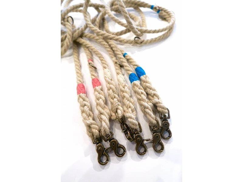 Green Trout Adjustable Hemp Rope Lead Cream/Gold
