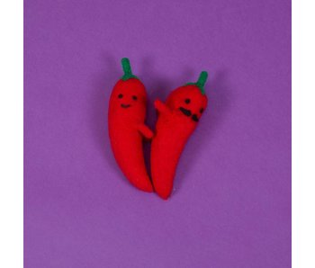 Ware of the Dog Felted Wool Red Pepper, Set of 2