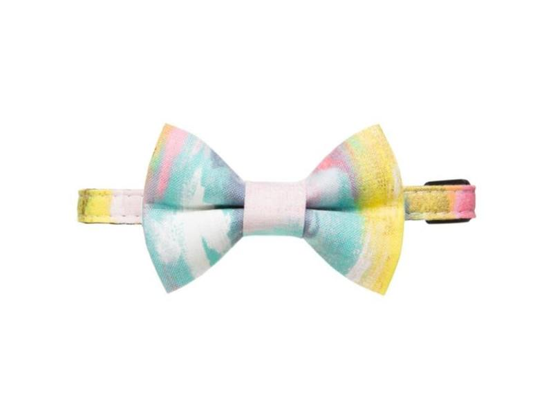 """Sweet Pickles Designs Cat Collar & Bow Tie, """"The Free Thinker"""" (watercolor)"""