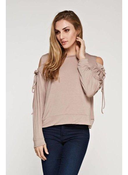 Maronie Ruffle Cold Shoulder Sweatshirt