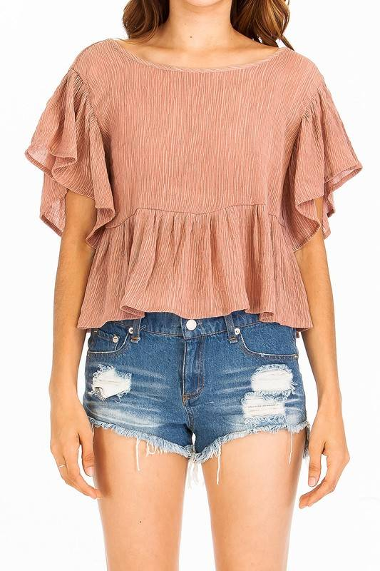 Olivaceous Flutter Sleeve Top