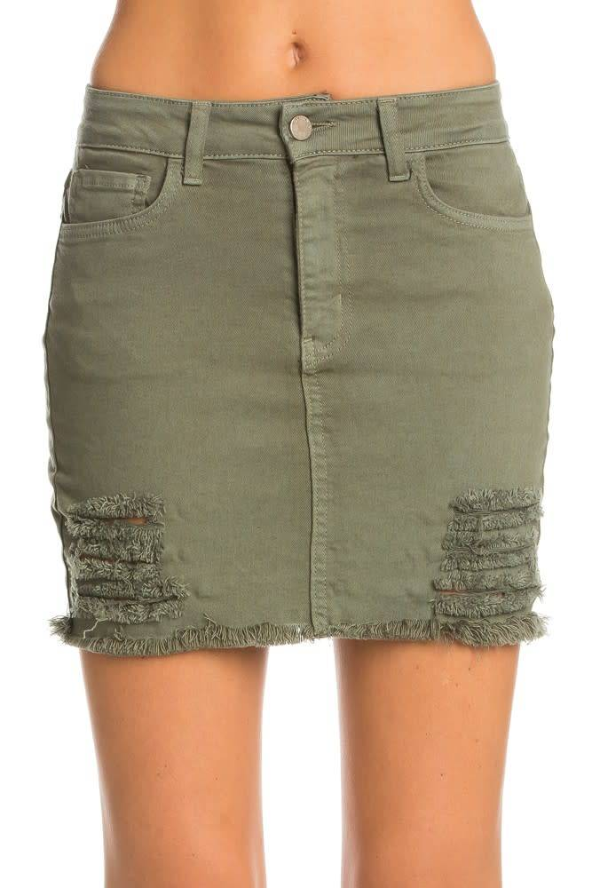 O2 Denim Olivia Destroyed Skirt
