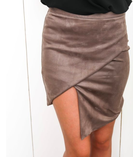 Olivaceous Suede Asymmetrical Skirt