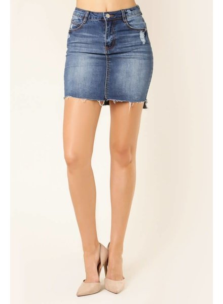 Jella C. Distressed Denim Skirt