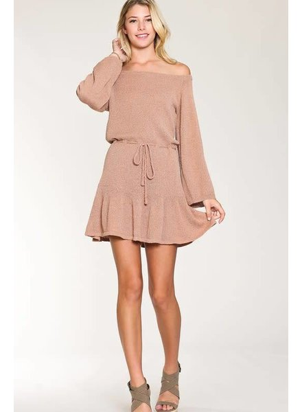 Listicle Off Shoulder Sweater Dress