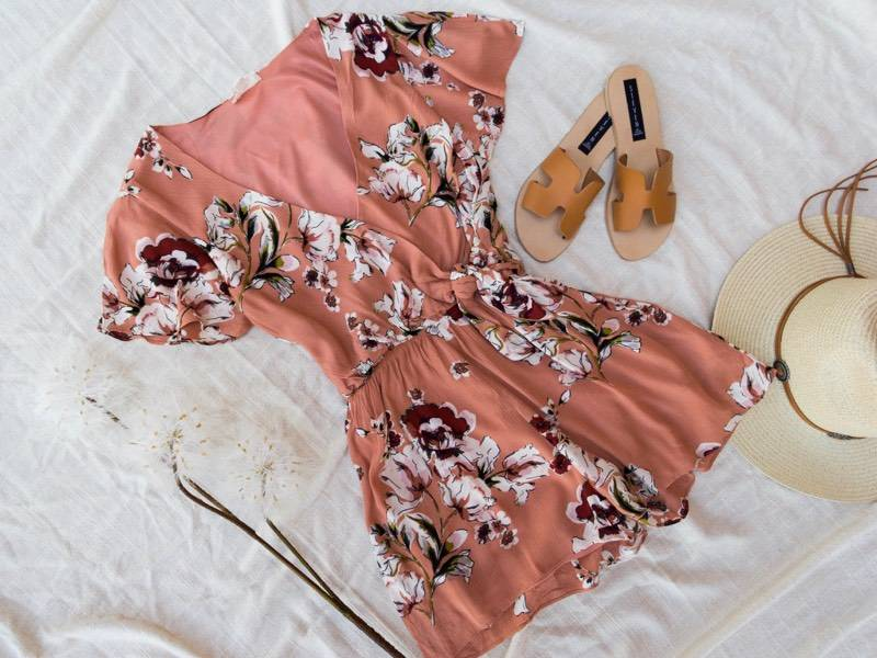 Everly Floral Wrap Romper