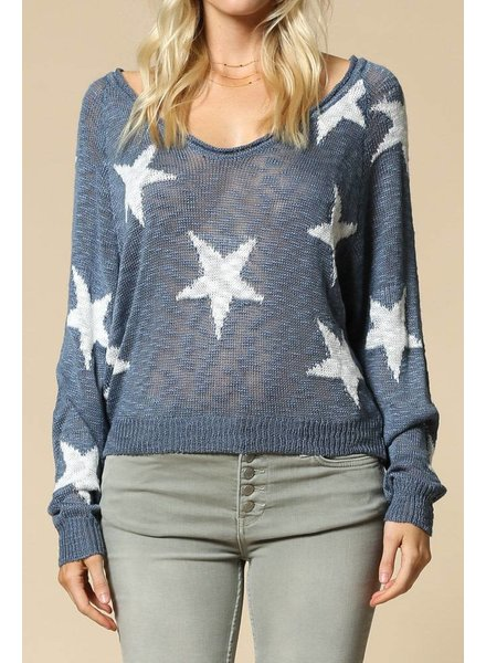 By Together Star Print Knit Top