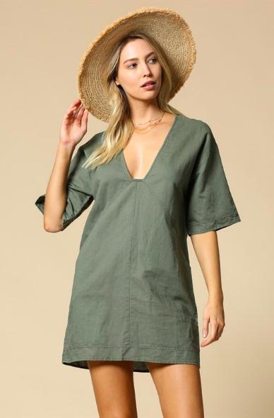 By Together Linen Plunge Dress