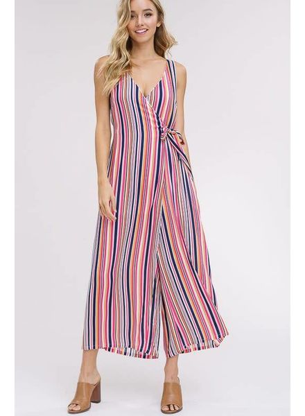 Listicle Stripe Wrap Jumpsuit