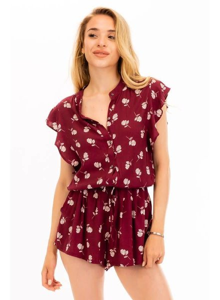 Olivaceous Darcy Floral Romper