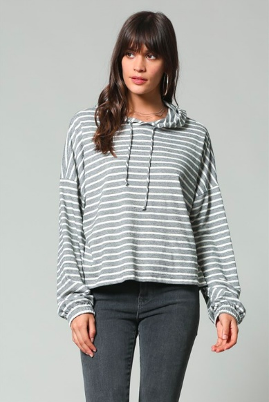 By Together Cropped Stripe Hoodie
