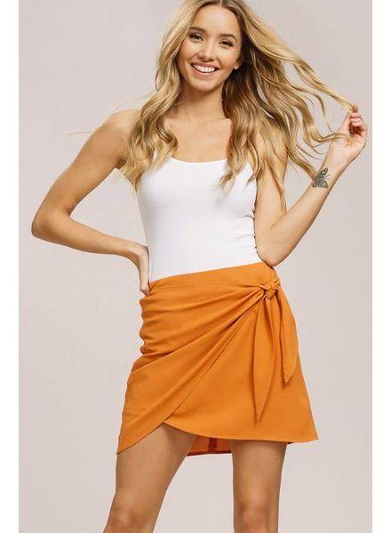 Listicle Wrap Mini Skirt