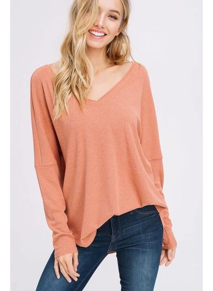 Listicle V-Neck Ribbed Top