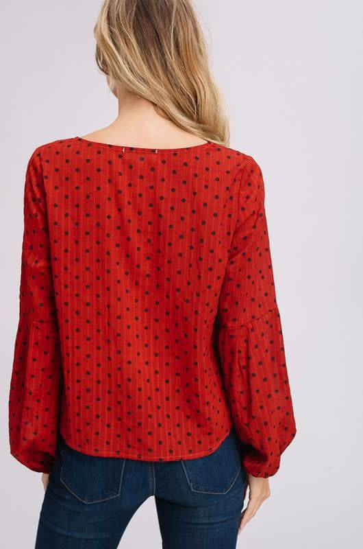 Listicle Polka Dot Tie Top
