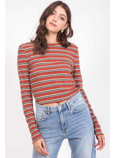 Very J Camel Stripe Crop Top