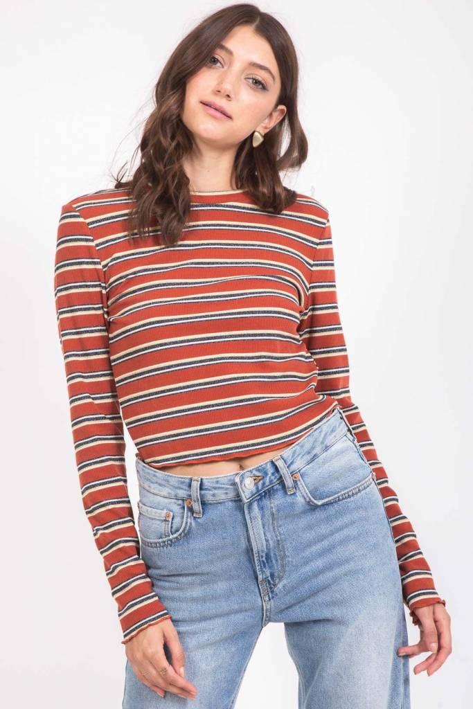 Very J Camel Stripe Crop Top