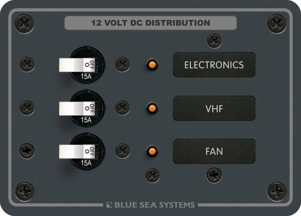 Blue Sea BLUESEA DC PANEL 3POS 3-BREAKER 8025