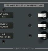 Blue Sea 8099 BLUE SEA BREAKER PANEL- AC 6 POSITION HORIZONTAL W/MAIN 8099