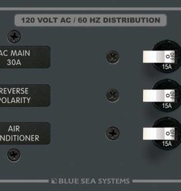 Blue Sea 8099 BLUE SEA BREAKER PANEL- AC 6 POSITION HORIZONTAL W/MAIN 8099