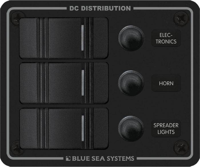 Blue Sea 8374 BLUE SEA PANEL 12V WATERPROOF 3 POSITION BLACK 8374