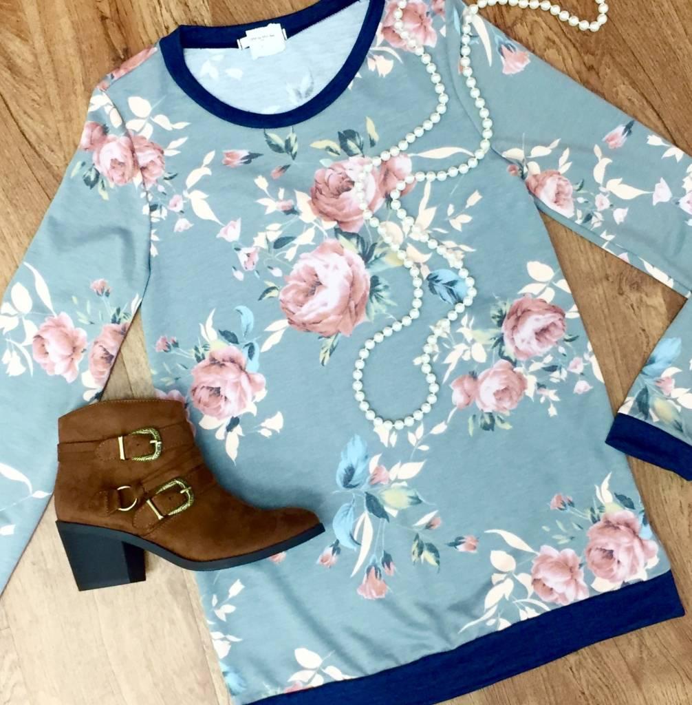 Grey Pastel Floral Knit Top- SALE ITEM
