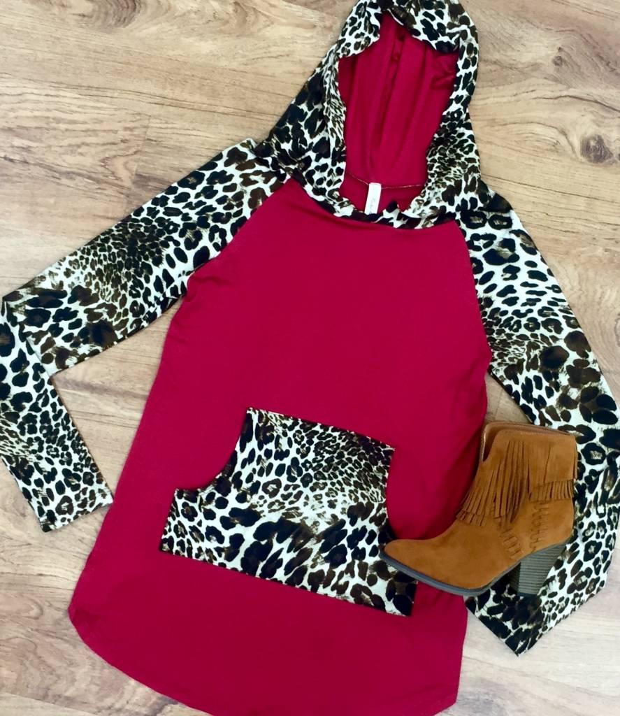Burgundy/Leopard Hoodie