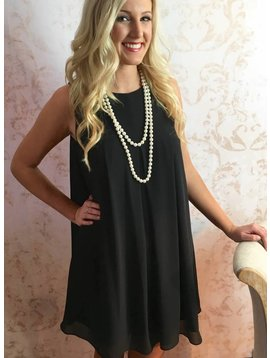 Black Pleated Sheer Dress with Lining