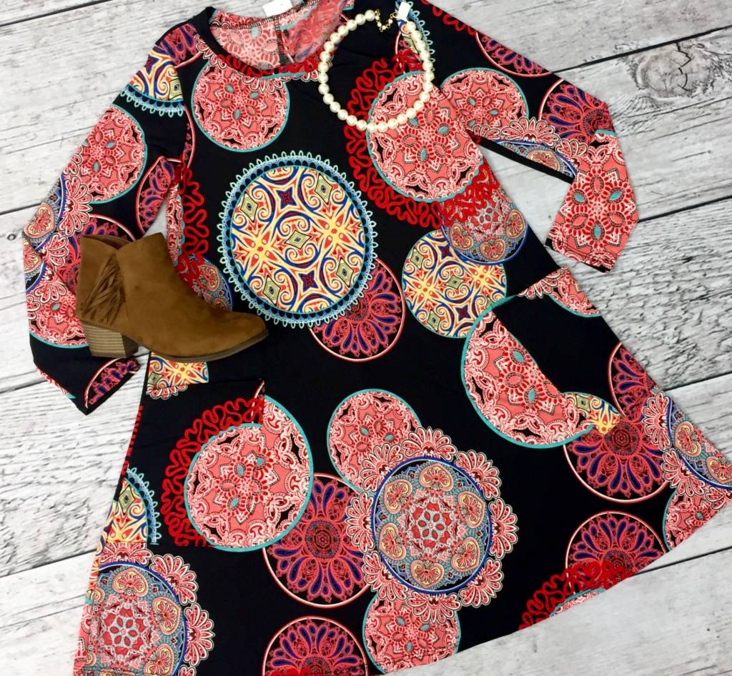Black Floral Print Dress with 3/4 Sleeves and Pockets- SALE ITEM