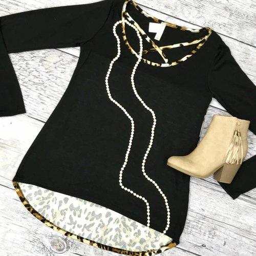 Long Sleeve Criss Cross Black & Leopard Contrast Top- SALE ITEM