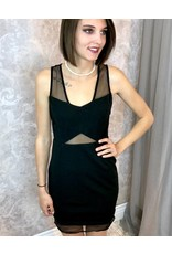 Black Dress with X-Top over Mesh and Back Zipper- SALE ITEM