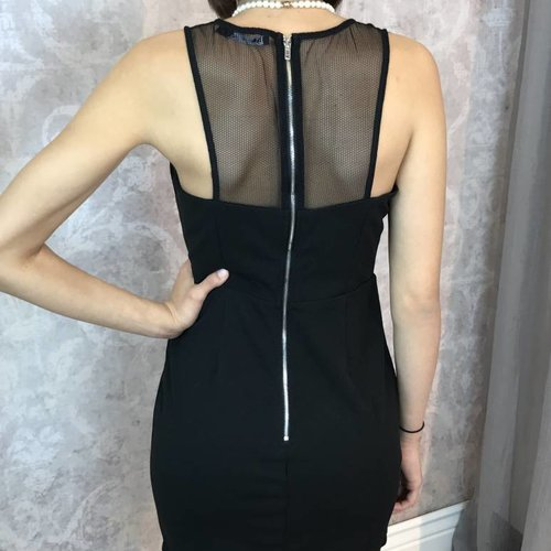 Black Dress with X-Top over Mesh and Back Zipper