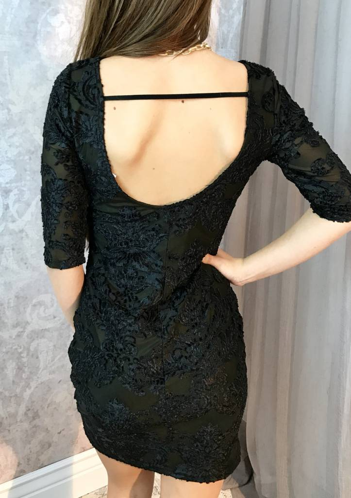 Black Velvet Floral Embedded Fitted Dress with Open Back