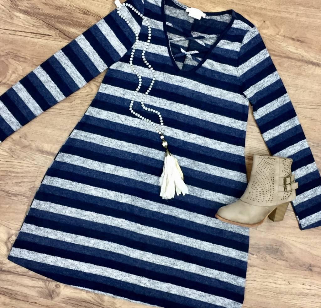 Navy/ Grey Striped Criss Cross Detail LS Dress