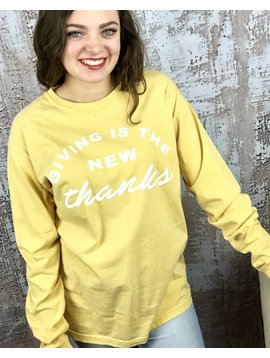 """Mustard LS T-Shirt """"Giving is the New Thanks"""""""