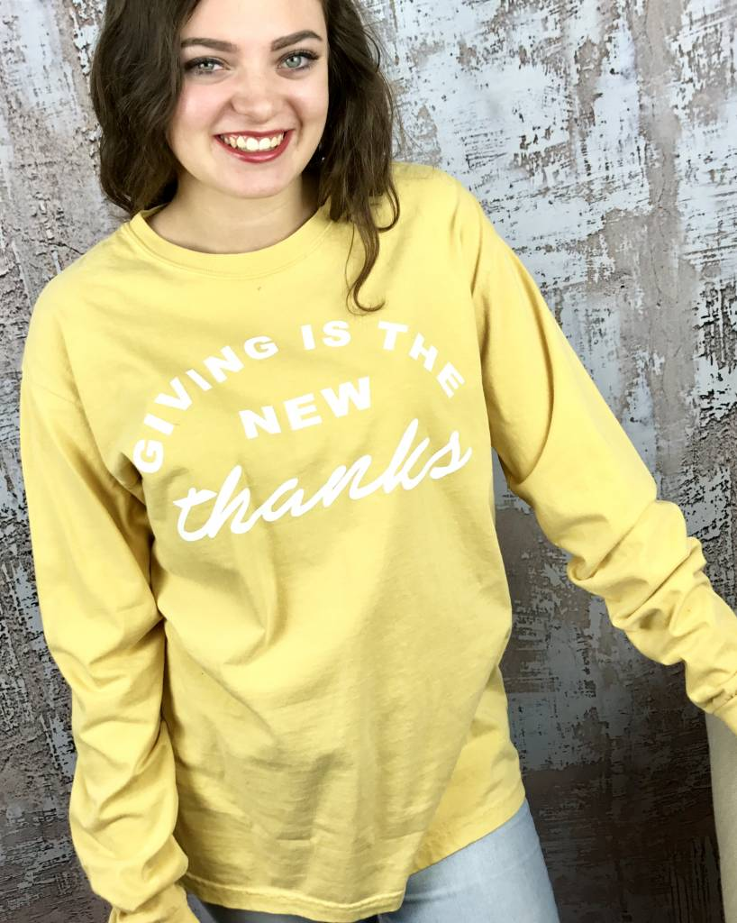 "Mustard LS T-Shirt ""Giving is the New Thanks"""