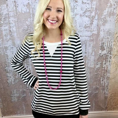 Black and White Striped Top with White Collar and Black Cuffs