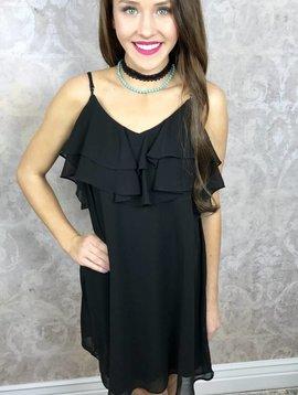 Black Midnight Ruffled Dress