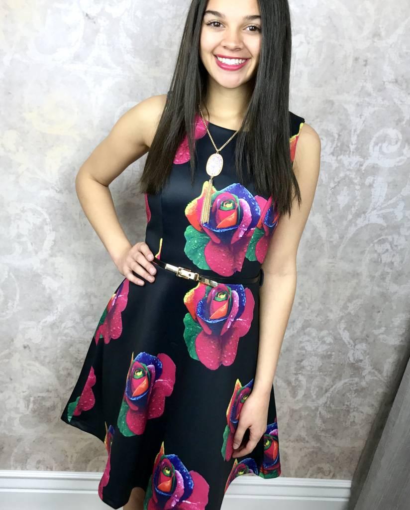 Catch the Bouquet Black Floral Party Dress- SALE ITEM