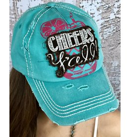 """Turquoise """"Cheers Yall"""" Ball Cap"""