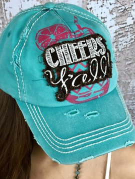 "Turquoise ""Cheers Yall"" Ball Cap"