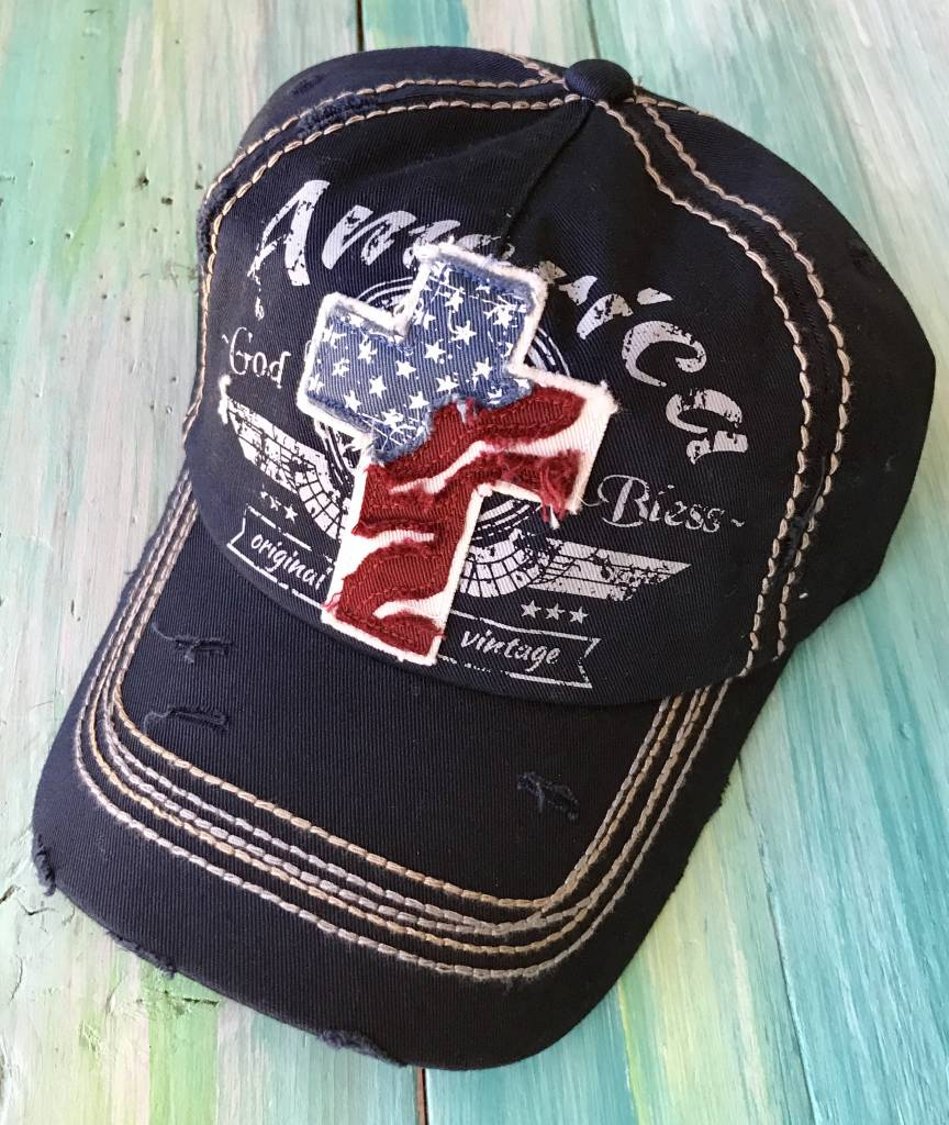 "Blue ""God Bless America"" Ball Cap"