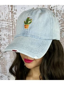 Distressed Jean Hat with Cactus