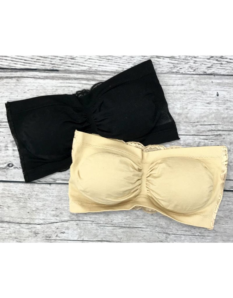 Black Padded Bandeau with Lace Back