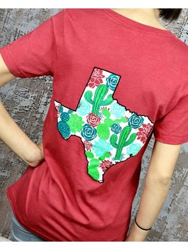 Heather Red Cactus Texas T-Shirt