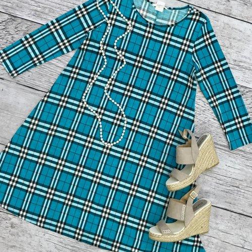 Pretty in Teal Plaid Dress