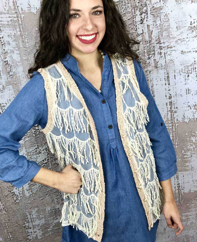 Peach Knit Fringe Vest