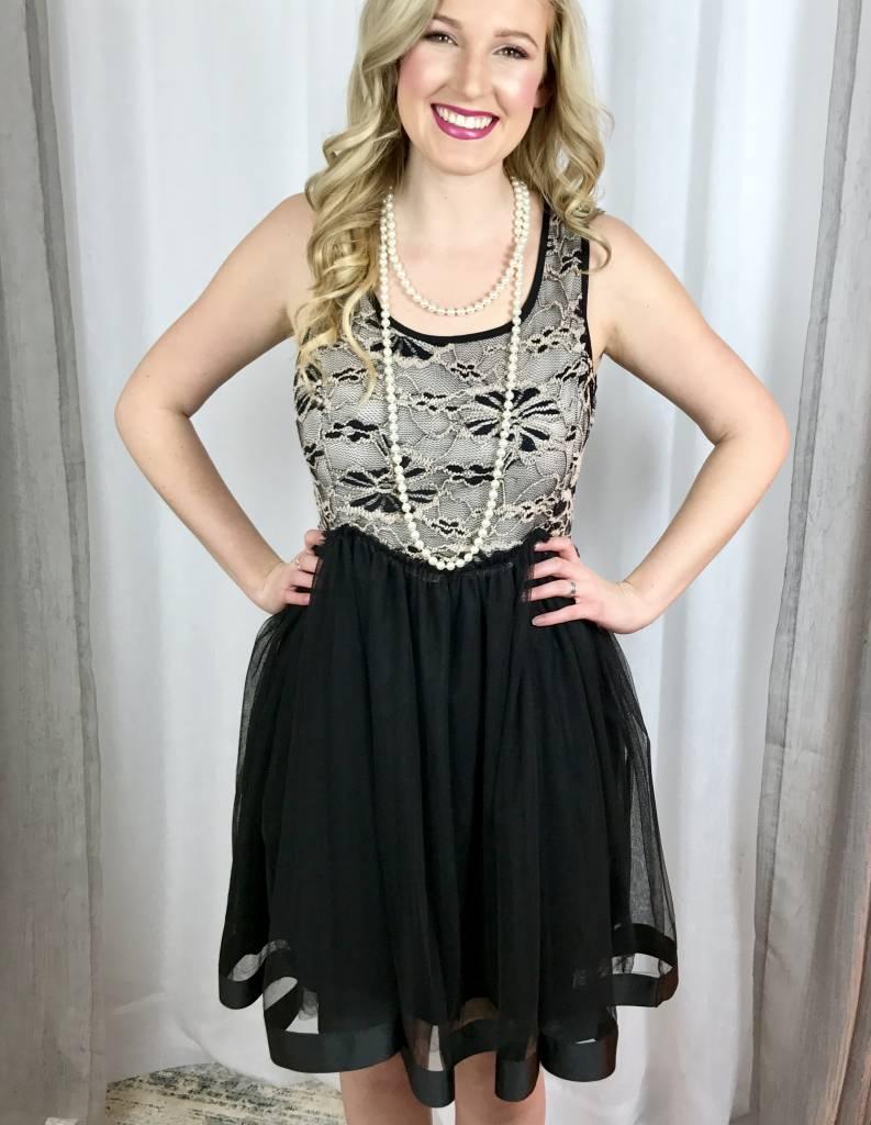 Elegant Banquet  Black Lace Dress- SALE ITEM