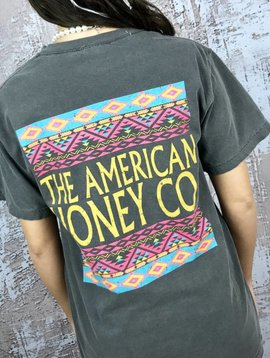 Charcoal American Honey T-Shirt Aztec Back- SALE ITEM