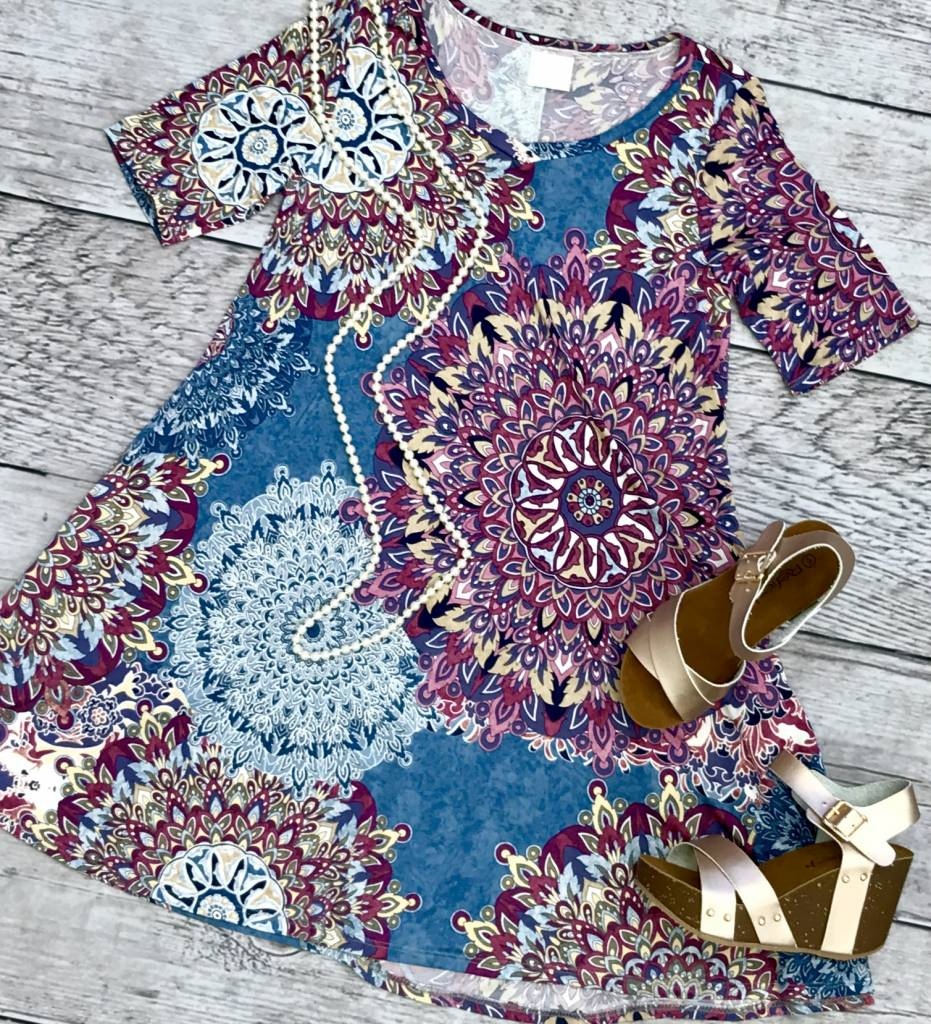 Blue / Purple Floral Short Sleeve Dress- SALE ITEM