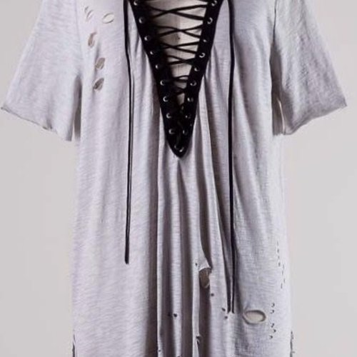 Grey Cut up Top with Lace Front- SALE ITEM
